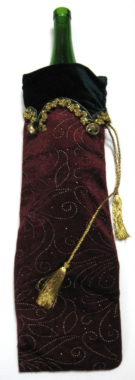 Primary image for Velvet Wine Bottle Bag Sleeve Burgundy Green Gold