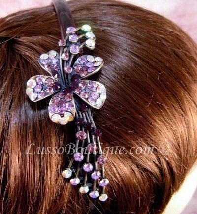"Austrian Crystal Headband Hairband ""Aiden"" Purple free organza bag"