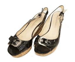 Franco Sarto Cork Wedge Black & Tan Sandals - Womens 7 Medium - $21.50