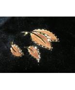 Vintage Demi Sarah Coventry Faux Wood Leaf Brooch & Ear - $15.70