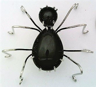 Primary image for Black Onyx Spider Stainless Steel Wire Wrap Brooch 17