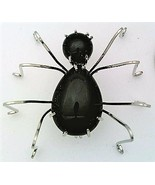 Black Onyx Spider Stainless Steel Wire Wrap Brooch 17 - $28.97