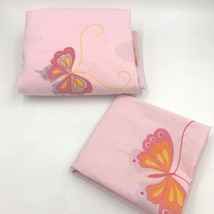 Vintage Martex Pink Butterfly Twin Flat Sheet and Pillowcase Hanae Mori K5 - $22.95
