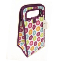 Foldable and Insulated Lunch Cooler Bag-Purple dots - $6.18