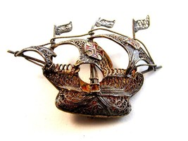 Vintage 800 Silver Spanish Galleon Enameled Cross Filigree Brooch - $64.99