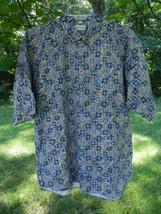 IZOD Essentials Mens Shirt M Purple Blue Swirl Casual SS Button Down Fro... - $38.11