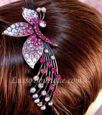 "Austrian Crystal Headband Hairband ""Ainsley"" Pink free organza bag"