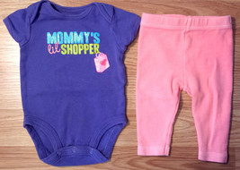 "Girl's Size NB Newborn Two Pc Carter's Purple ""Mommy's Lil' Shopper"" Top... - $6.00"
