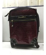 Samantha Brown Carry On Small Suitcase And Bag. Maroon Crocodile Skin Pa... - $48.37