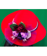 Large Red Hand Decorated Felt Hat - $10.95