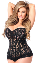 Top Drawer Daisy Corsets Black Lace Steel Boned Corset  With Rhinestones - $110.00+