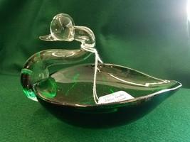 Duncan & Miller Glass Pall Mall Emerald Green Swan Dish - $27.34