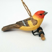 Carved Wood Bird Western Tanager Hanging Ornament Red Head Yellow Body P... - $23.20