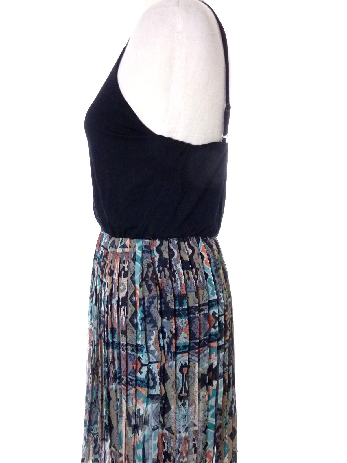 Black and Aztec Print Chiffon Skirting Dress Lush Medium M