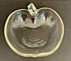 """Vintage Hazel Atlas Orchard Clear Glass Apple 4 1/2"""" Fruit Dessert Bowl Midcentu - $5.00"""