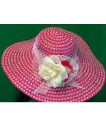 Large Fuchsia Hand Decorated Ladies Sun Hat - $8.95