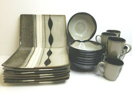 "Sango Prelude Black 4508 (8) 12"" Rectangle Dinner Plates (8) Soup Bowls ... - $148.17"