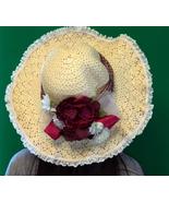 Floppy Hand Decorated Straw Ladies Beach Hat - $8.95