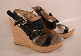 Michael Michael Kors Womens Platform Black Jill Wedge Leather Sandal 8M - $33.66