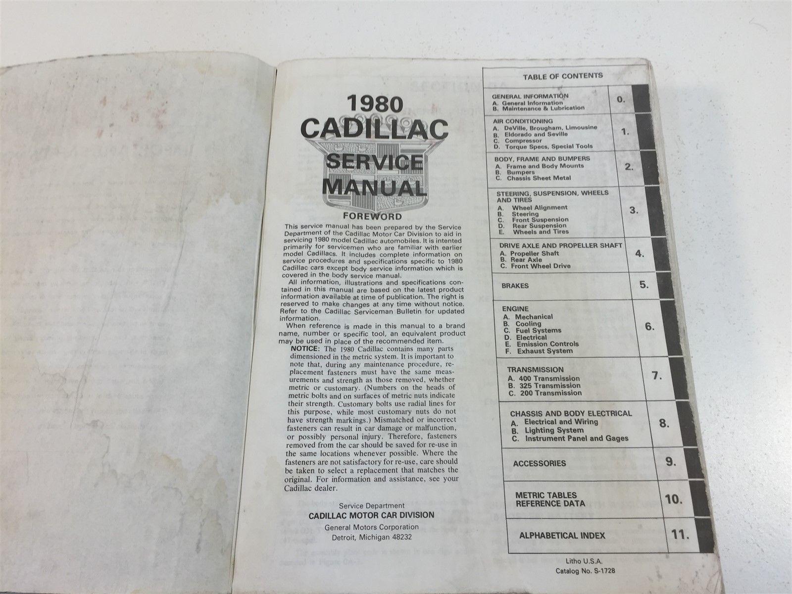 1980 Cadillac Nineteen Hundred & Eighty Service Manual S-1728