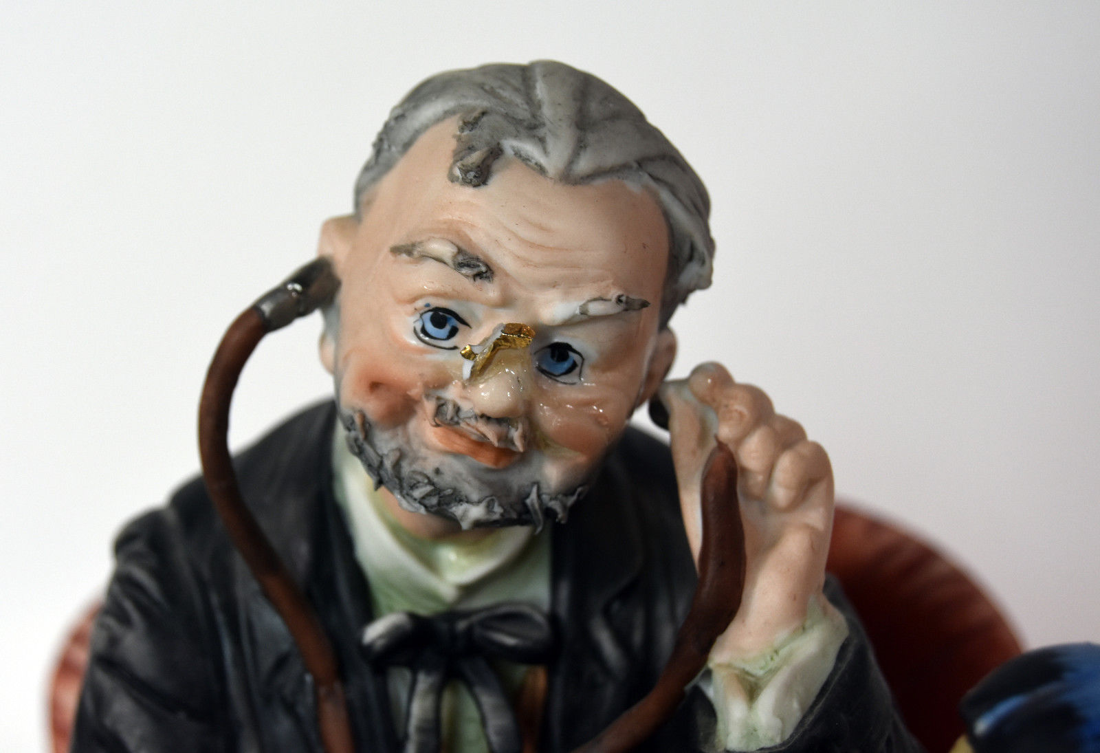 """9"""" Vintage Capodimonte Porcelain Old Doctor With Baby Girl Patient Doll Japan"""