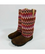 KEEN Girl's Size 3 Auburn Brown Suede Leather Knit Lined Slouch Boots - $28.21