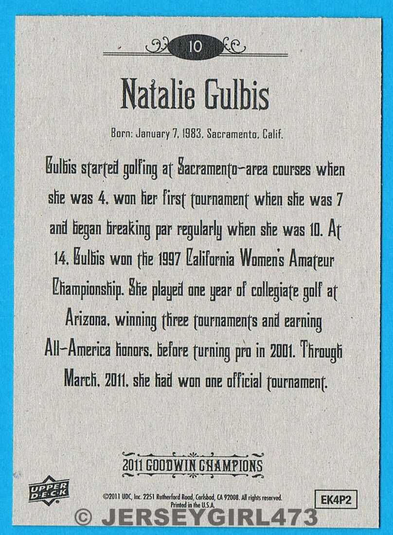 Natalie Gulbis 2011 Upper Deck Goodwin Champions LPGA Golf Card #10