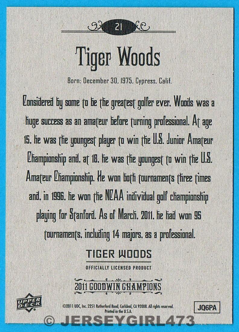 Tiger Woods 2011 Upper Deck Goodwin Champions PGA Golf Card #21