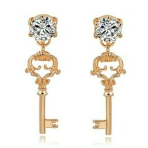 Gold Crystal Key Pendant Beautiful Charm Fashion Jewelry Dangle Vintage Earrings - $18.81