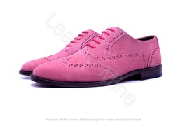 Men's Handmade Pink Suede Leather Wingtip Brogue Leather Dress Shoes For... - $164.89+
