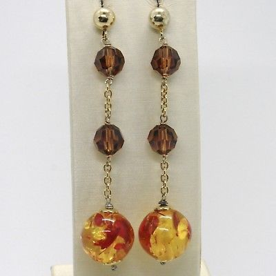 925 STERLING YELLOW SILVER PENDANT EARRINGS WITH AMBER SPHERE, 7 CM, 2.8 INCHES