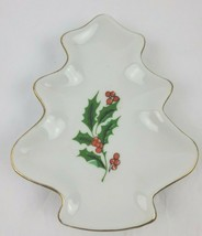 Christmas Tree Candy Dish Santa Cookies Plate Holly Berries Christmas Ho... - $13.30