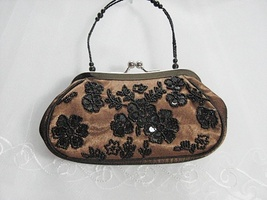 Sequin beaded floral bridal clutch weddingsilk net handbag purse occasio... - $24.00