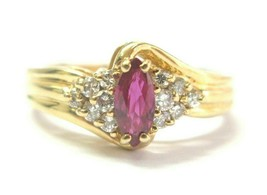 Marquise Shape Ruby & Diamond Ring 14Kt Yellow Gold .65Ct + .25Ct SIZEABLE - $990.00