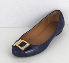 Calvin Klein Madeline women's blue gold accent ballerina leather flats s... - $16.61