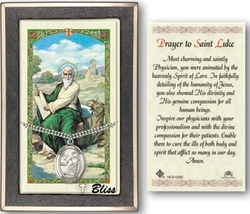 St. Luke the Apostle - Silver Filled Medal on a 24 inch Chain with a Prayer Card