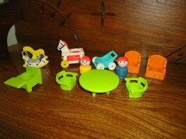 Fisher Price 1972 Lot of 11 Doll House Baby Toys Wooden Boy - $37.53