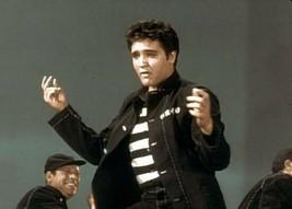Elvis Presley Jailhouse Rock in striped shirt & prison jacket 5x7 inch p... - $5.75