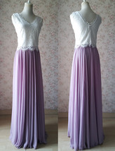 Rustic Wedding Lavender Maxi Chiffon Skirt Lace Top 2-Piece Bridesmaid Dresses image 1