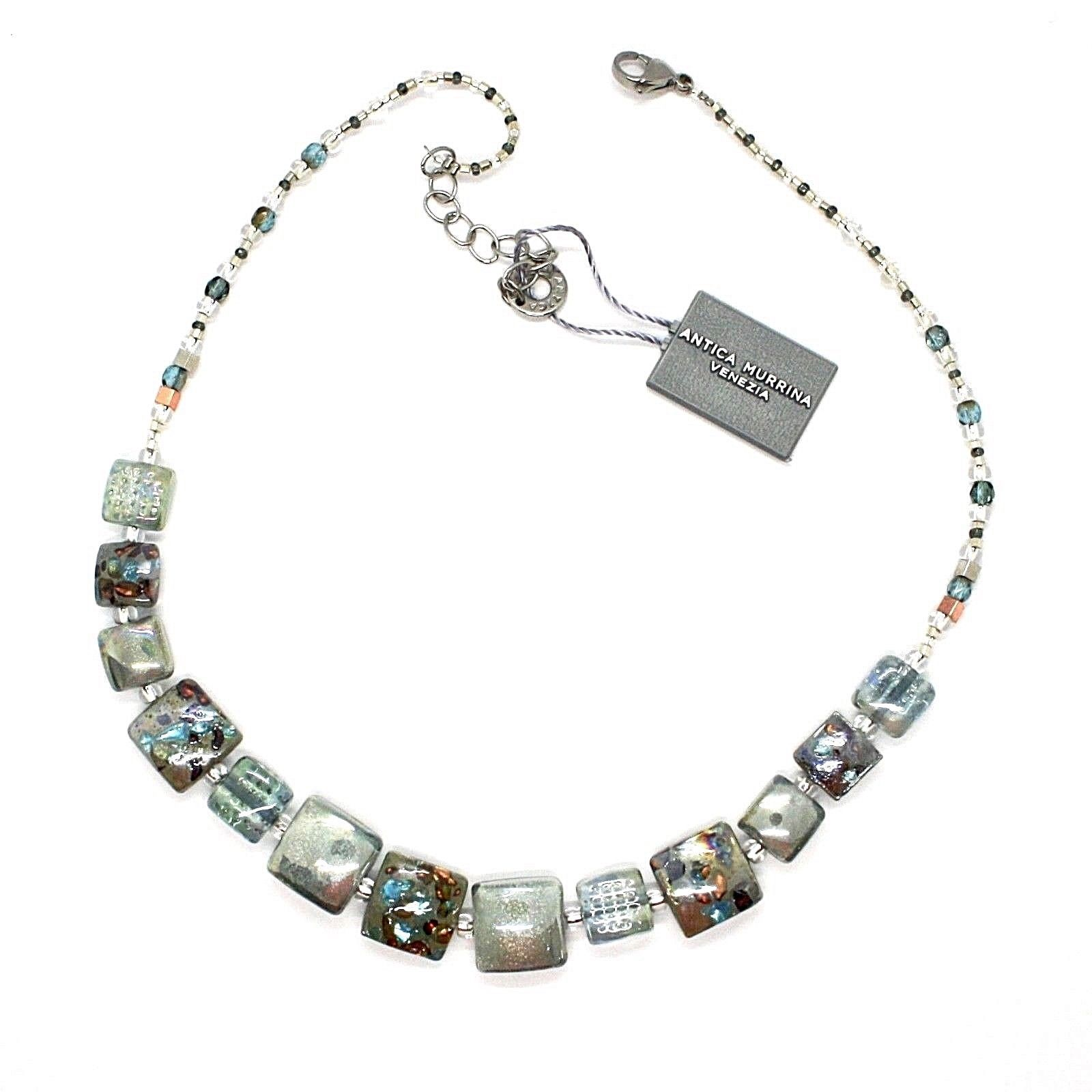 NECKLACE ANTICA MURRINA VENEZIA WITH MURANO GLASS SILVER GRAY CO866A12