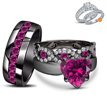 His & Her Engagement Ring Trio Set Heart Shape Purple Amethyst Black Gol... - $155.00