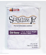 Amazing Designs Stabilize It cut Away Pre-cut embroidery Stabilizer 9in ... - $31.09