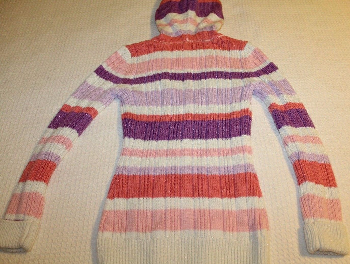 38cbf1b5031 JUSTICE Girl s Size 10 Striped Hooded Pullover Sweater Top Long Sleeves EUC