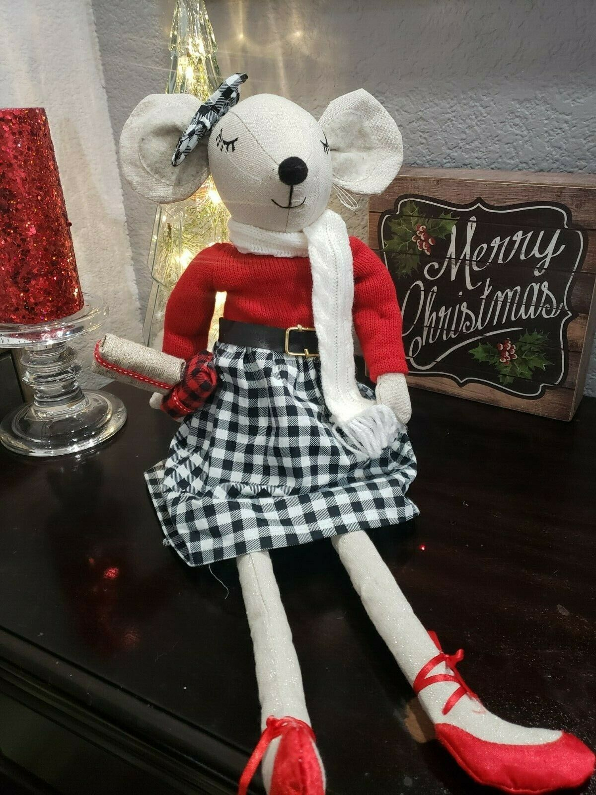 Primary image for Christmas Girl Mouse Doll Wearing Buffalo Plaid Tabletop Shelf Sitter Decor