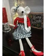 Christmas Girl Mouse Doll Wearing Buffalo Plaid Tabletop Shelf Sitter Decor - $42.99