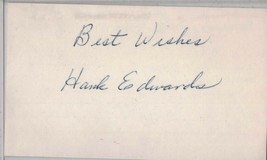 HANK EDWARDS Auto/Autograph 3x5 Index Card Indians/Cubs/Dodgers (1919-1988) - $13.46
