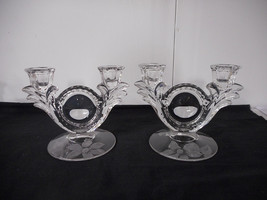 Duncan Miller Canterbury Sand Carved Clematis Double Candleholders Pair - $49.00