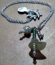 Light Green Lucite Flowers Pearls and Swarovski Crystals Necklace Made I... - $29.99