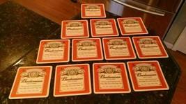 """12 Vintage Genuine Budweiser """"King of Beers"""" 4 3/16"""" Square Cardboard Coasters - $38.57"""
