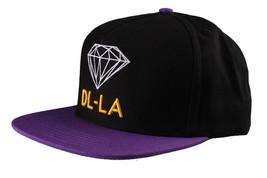 Diamond Supply Co DL-LA Black Yellow Snapback Cotton Hat White Logo Embroidered image 2